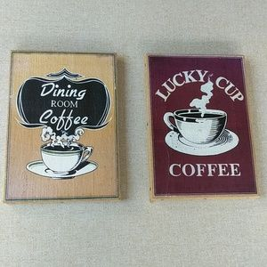 Rustic Coffee Art Wall Burlap Cafe Pair Kitchen